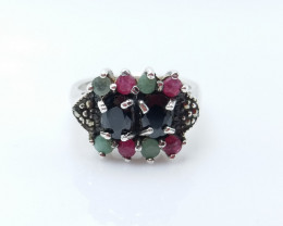 RUBY EMERALD SAPPHIRE MIXED 925 SILVER RING L#28