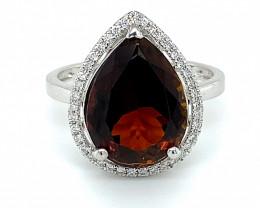 Certified Reddish Orange Tourmaline 6.24ct with Diamonds Solid 950 Platinum