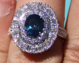Certified Blue Sapphire 2.40ct Natural Diamonds 2.05ct Solid 950 Platinum C