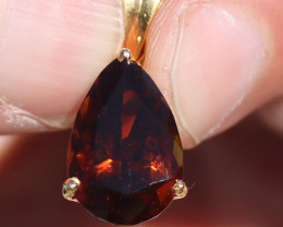 Certified Orange Tourmaline 5.90ct, Solid 18K Yellow Gold Pendant, Pear, Ap