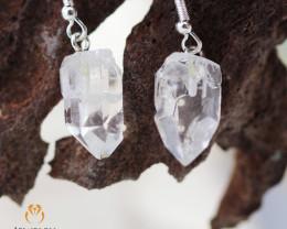 Raw Crystal in swing drop silver Earrings BR 256