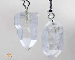 Raw Crystal in swing drop silver Earrings BR 258