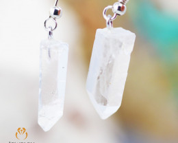 Raw Crystal in swing drop silver Earrings BR 262