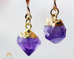 Raw Amethyst Gemstone Drop Earrings BR 274