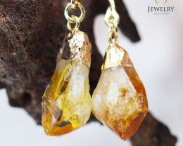 Raw Citrine Gemstone, long Drop Earrings BR 276