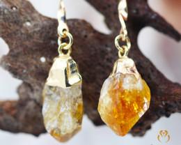 Terminated Point Citrine Gemstone, long Drop Earrings BR 279
