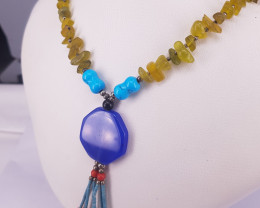 Natural Jade Citrine and Tarquoise Necklace