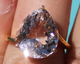 Certified Imperial Topaz 11.70ct Solid 22K Yellow Gold Solitaire Ring
