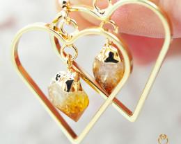 Terminated beautiful Citrine in Heart shape  Earrings  BR 280