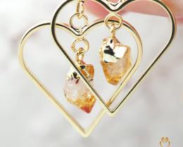 Raw beautiful Citrine in Heart shape Earrings BR 281