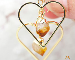 Raw beautiful Citrine in Heart shape Earrings BR 283