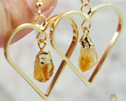 Terminated beautiful Citrine in Heart shape Earrings BR 284
