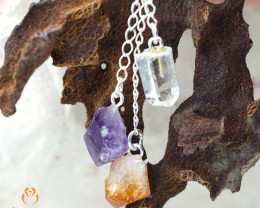 Raw Gemstone swing drop pendant, Amethyst, Citrine, Crystal BR 295