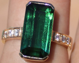 Certified Green Tourmaline 6.44ct Diamonds Solid 18K Yellow Gold Ring