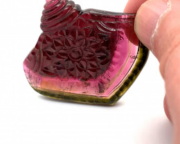 Certified Watermelon Tourmaline 116.25ct, Carving, Natural, Untreated, Sour