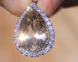 Certified Imperial Topaz 22.58ct Natural Diamonds 1.06ct Solid 950 Platinum