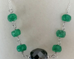 Black Diamond and Emerald Bead Necklace  8.50 TCW