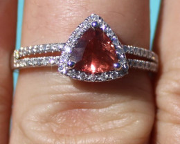 Certified Padparadscha Sapphire 1.00ct Natural Diamonds Solid 950 Platinum