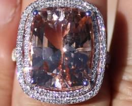 Certified Morganite 12.30 and Natural Diamonds Solid 950 Platinum Ring