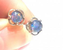 Australian Opal Triplet in Silver Earrings OPJ 2417