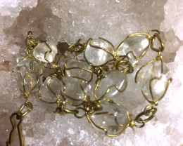 Raw Quartz  Rock Crystal bracelet 27 cm ,hand made   BR 351
