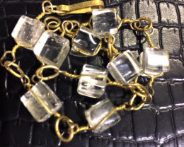 Raw  Sq Quartz  Rock Crystal bracelet,hand made   BR 352