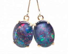 Beautiful  Large  Triplet Opal silver Earrings OPJ 2423