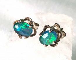 Modern Cute Oval Opal Triplet Earring OPJ 2426