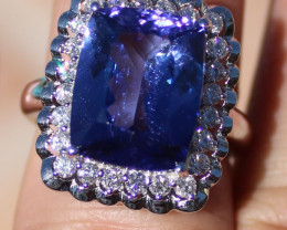 Certified Tanzanite 8.61ct Natural Diamonds Solid 18K White Gold Ring