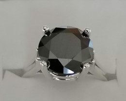 Black Diamond Solitaire Ring 3.57cts.