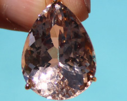 Certified Imperial Topaz 36.00ct Solid 22K Yellow Gold Pendant