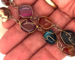 Raw  Agate  bracelet,hand made   BR 358