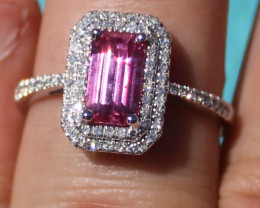 Certified Pink Sapphire 1.60ct Natural Diamonds Solid 950 Platinum Ring