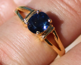 Certified Blue Sapphire 1.20ct Solid 18K Yellow Gold Ring