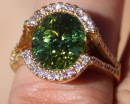 Certified Green Tourmaline 5.60ct Natural Diamonds Solid 21K Yellow Gold Ri