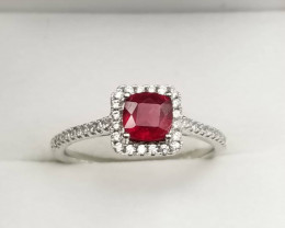 Ruby Ring With White Zircon