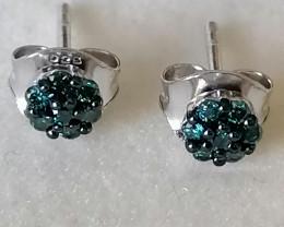 Blue Diamond Earrings 0.20 TCW
