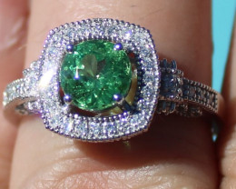 Certified Tsavorite Garnet 1.30ct Natural Diamonds Solid 950 Platinum Ring