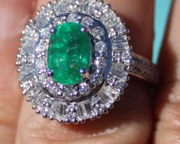 Certified Tanzanian Emerald 1.70ct,Natural Diamonds 2.00ct,Solid 950 Platin