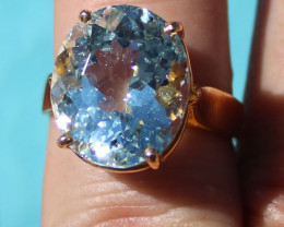 Certified Aquamarine 10.21ct, Solid 22K Yellow Gold, Solitaire Ring, Natura