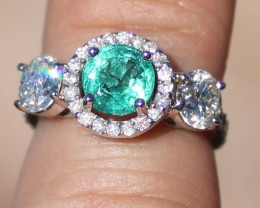 Certified Emerald 1.01ct Natural Diamonds 1.01ct Solid 14K White Gold Ring