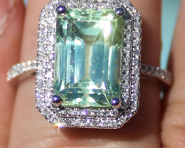 Certified Paraiba Tourmaline 7.05ct Natural Diamonds Solid 950 Platinum Rin
