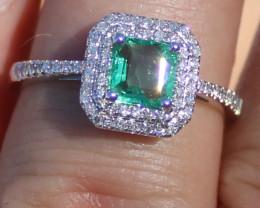 Certified Panjshir Emerald .50ct Natural Diamonds Solid 950 Platinum Ring