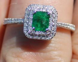 Certified Columbian Emerald .75ct Natural Diamonds Solid 950 Platinum Ring
