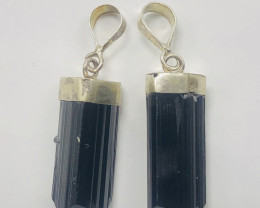 22 Pcs Of Natural Tourmaline Pendents With Silver
