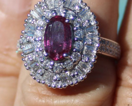 Certified Mozambique Ruby 1.05ct Natural Diamonds 2.00ct Solid 950 Platinum