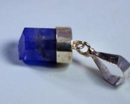 8.90 CT Natural - Unheated Purple Blue Tanzanite Silver Cap Pendant
