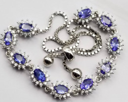 Natural Tanzanite Necklace With White Zircons