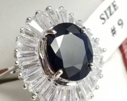 Natural Sapphire Ring with Zircons