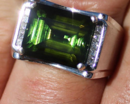 Certified Mens Green Tourmaline 14.30ct Natural Diamonds Solid 18K White Go